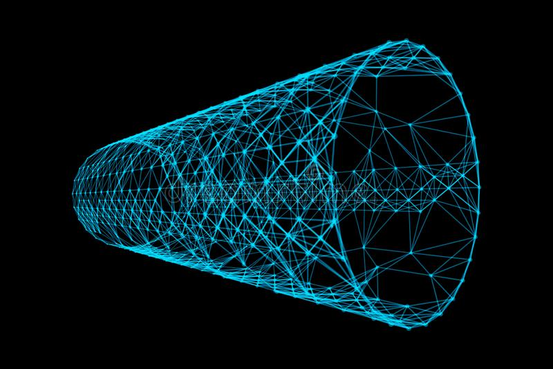 Голубой тоннель с линиями картины сетевого подключения Высокотехнологичная предпосылка в концепции цифровой вычислительной технол бесплатная иллюстрация