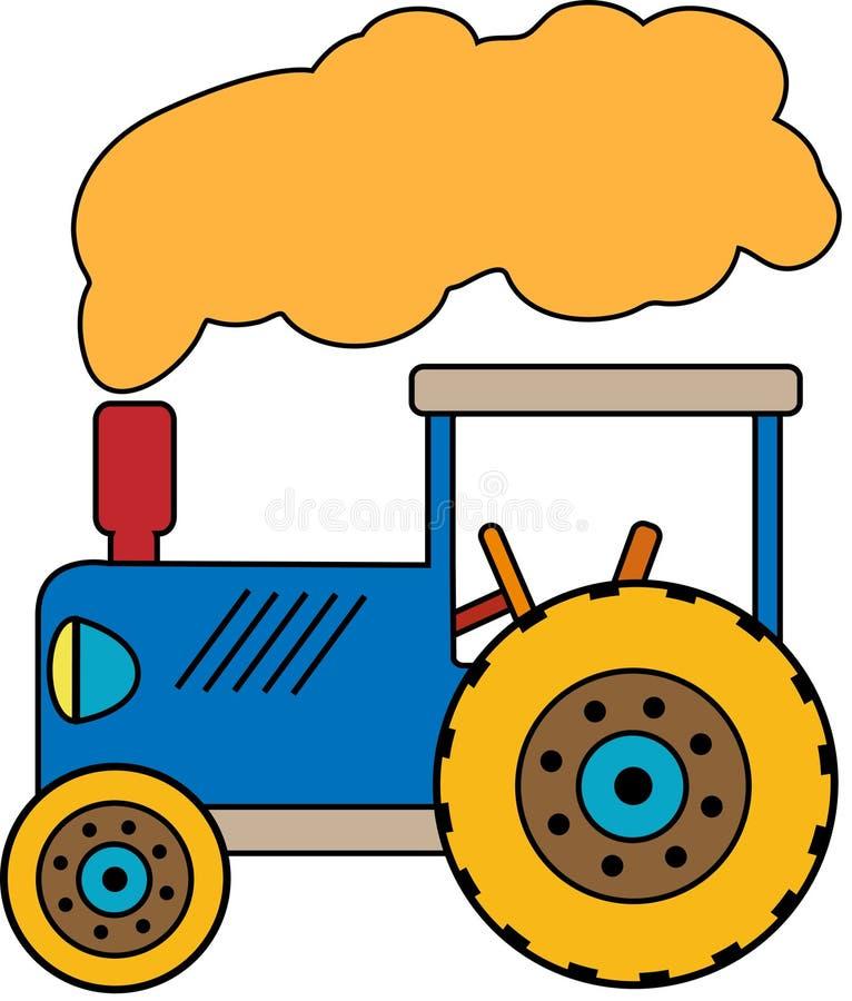 Голубой трактор с облаком дыма стоковые изображения