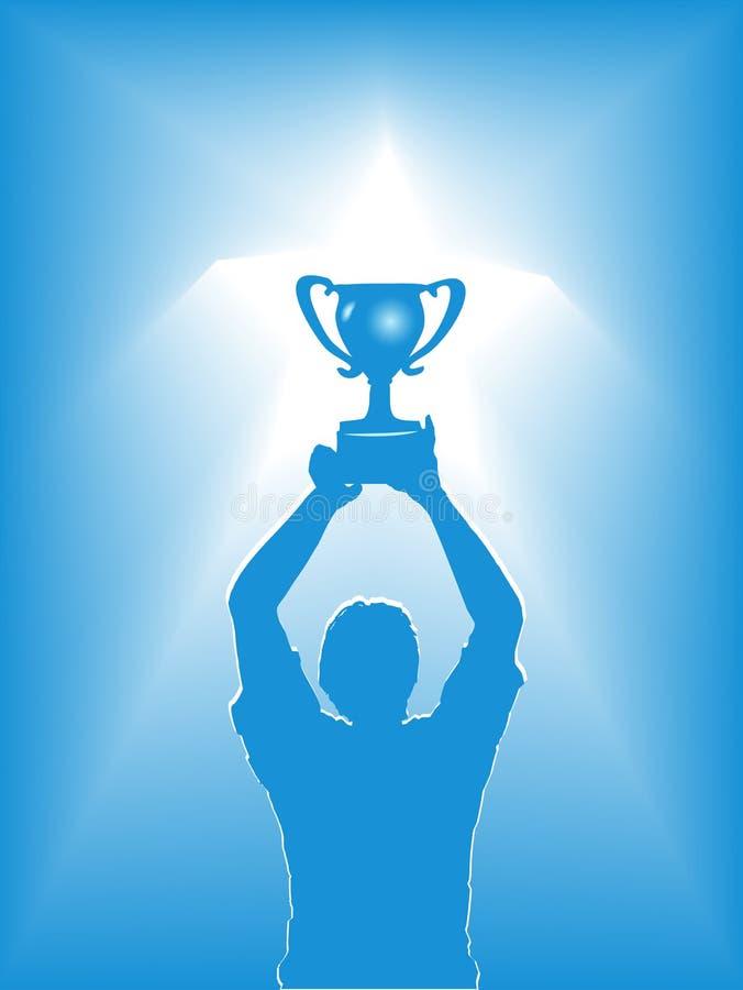 голубой трофей силуэта человека удерживания иллюстрация вектора
