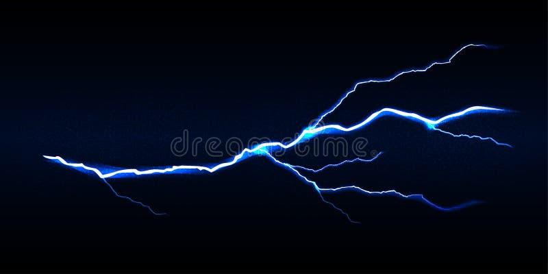 Голубой удар молнии вектора на черной предпосылке, изолированной иллюстрации вектора иллюстрация вектора