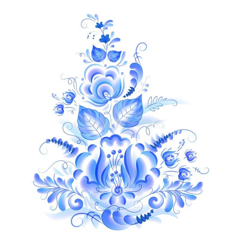Голубой флористический мотив с листьями и цветками в стиле gzhel акварели, элементе дизайна вектора изолированном на белизне бесплатная иллюстрация