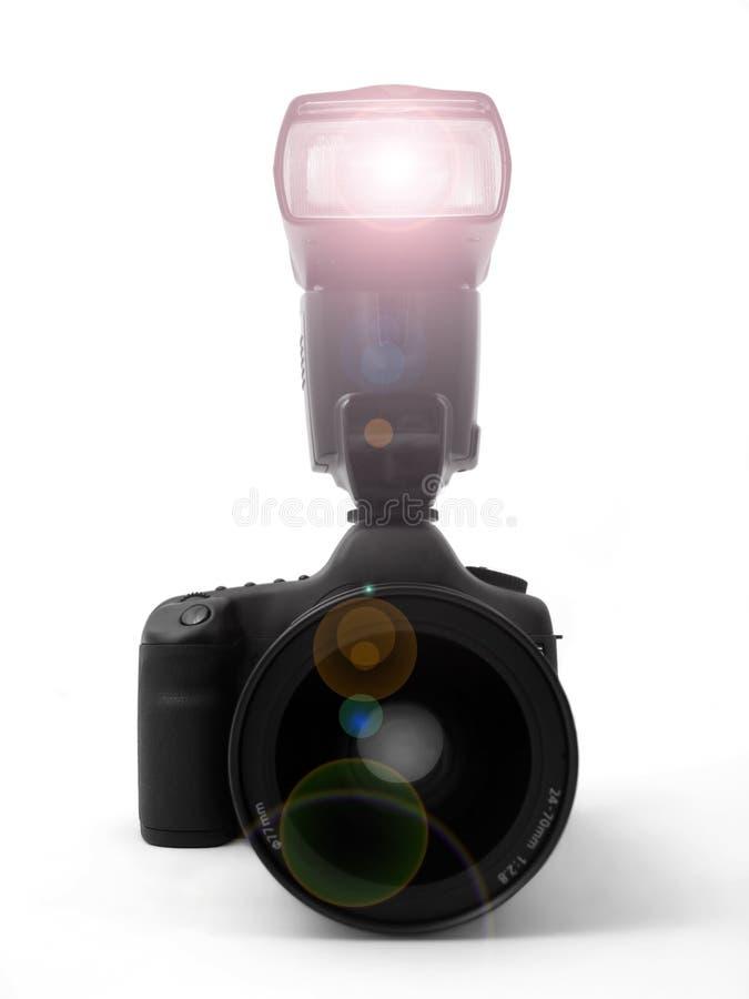 голубой фокус вспышки камеры тела преднамеренно вышел объектив стоковое изображение