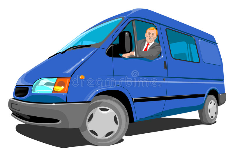 голубой фургон поставки иллюстрация вектора