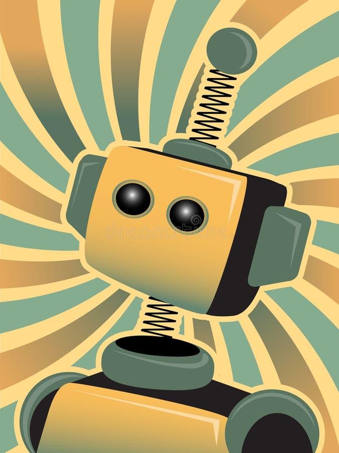 голубой цветастый золотистый робот взглядов swirly вверх иллюстрация штока
