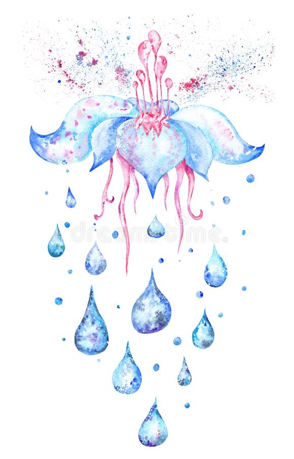 Голубой цветок дождя иллюстрация вектора
