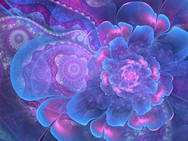 Голубой цветок фрактали с предпосылкой clockwork иллюстрация вектора