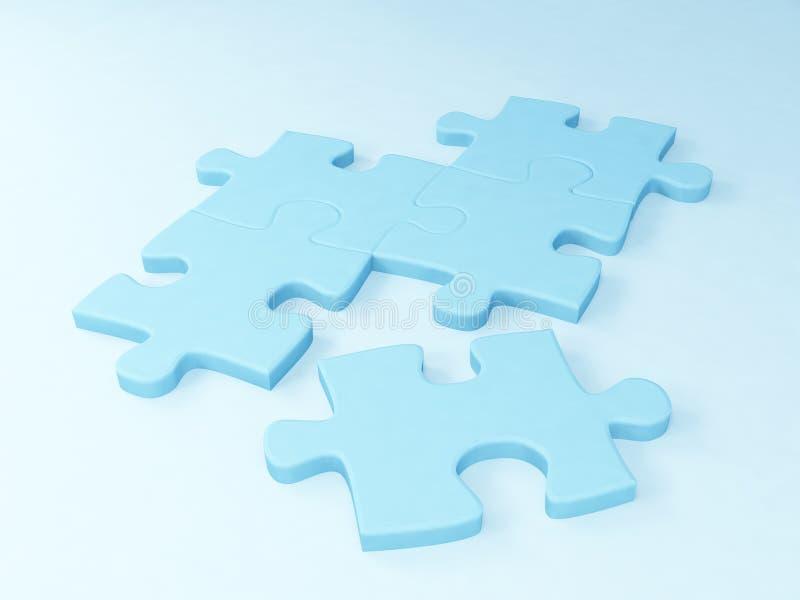 голубой цвет 5 частей головоломки стоковое изображение