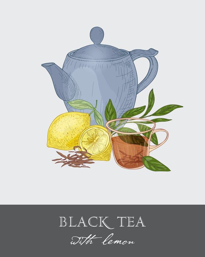 Голубой чайник, прозрачная стеклянная чашка, листья чая, цветки и свежий лимон приносить на серой предпосылке Очень вкусное питье иллюстрация штока
