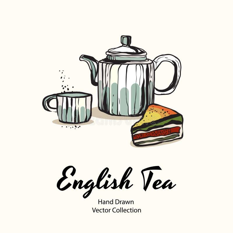 Голубой чайник, чашка, старый стиль иллюстрации вектора руки пирога заполняя вычерченный для меню кафа, логотипа, знамени, flayer иллюстрация вектора