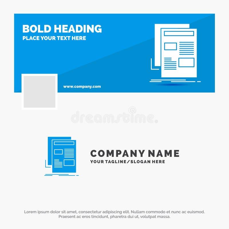 Голубой шаблон для новостей, информационый бюллетень логотипа дела, газета, средства массовой информации, бумага r знамя сети век иллюстрация вектора