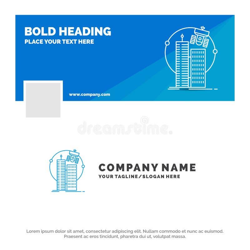 Голубой шаблон для построения, умный город логотипа дела, технология, спутник, корпорация r r бесплатная иллюстрация