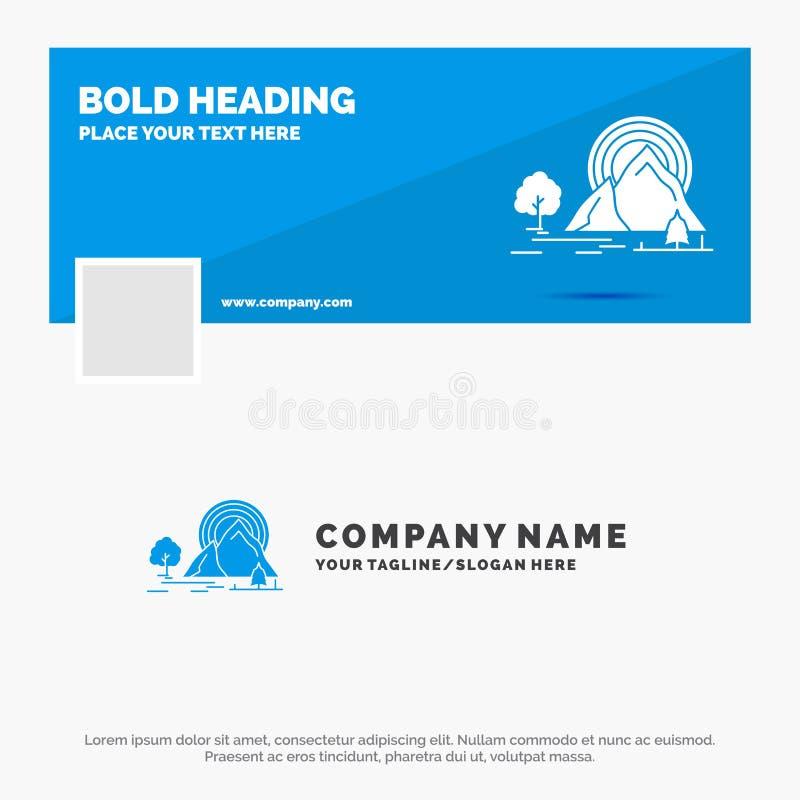 Голубой шаблон логотипа дела для горы, холма, ландшафта, природы, радуги Дизайн знамени временной последовательности по Facebook  иллюстрация штока