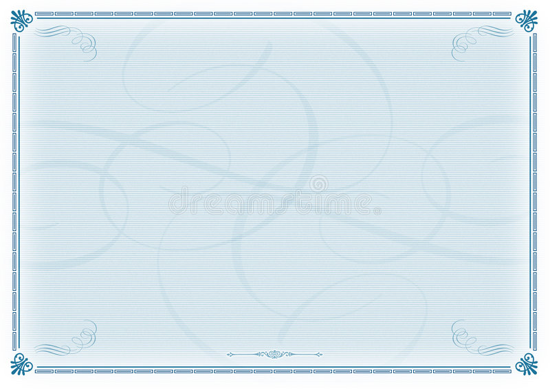 голубой шаблон сертификата иллюстрация штока
