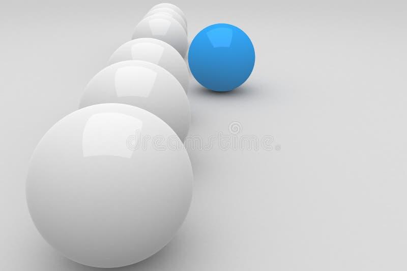 Голубой шарик привести белые шарики иллюстрация вектора