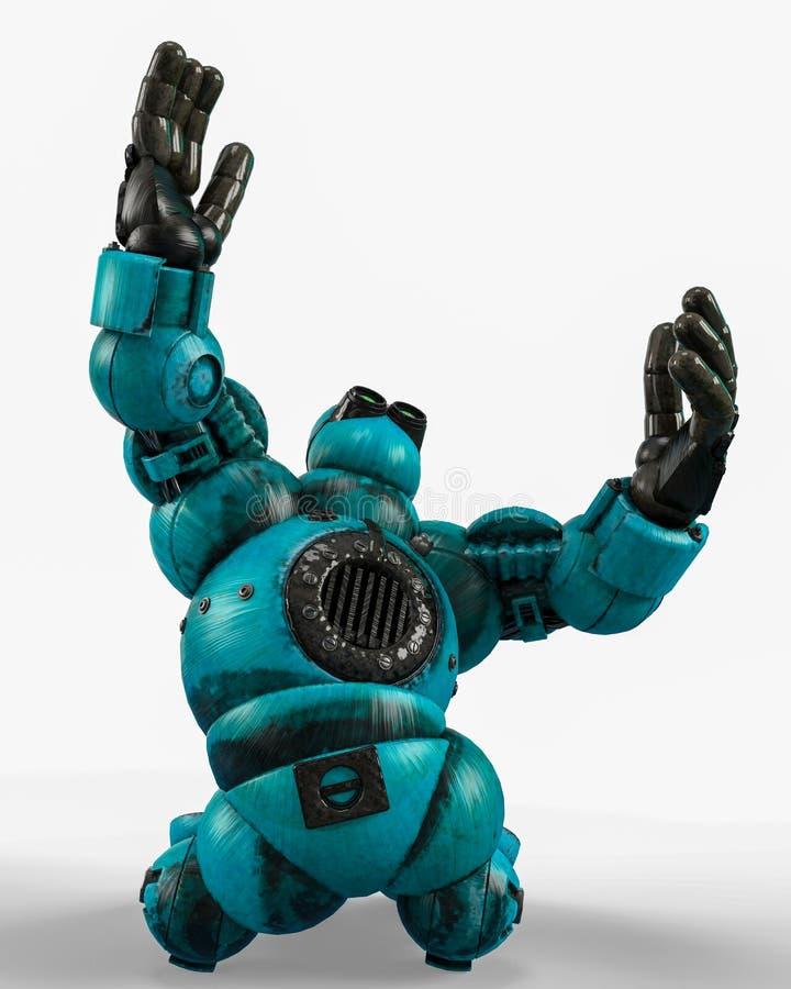 Голубой шарик робота в белой предпосылке бесплатная иллюстрация
