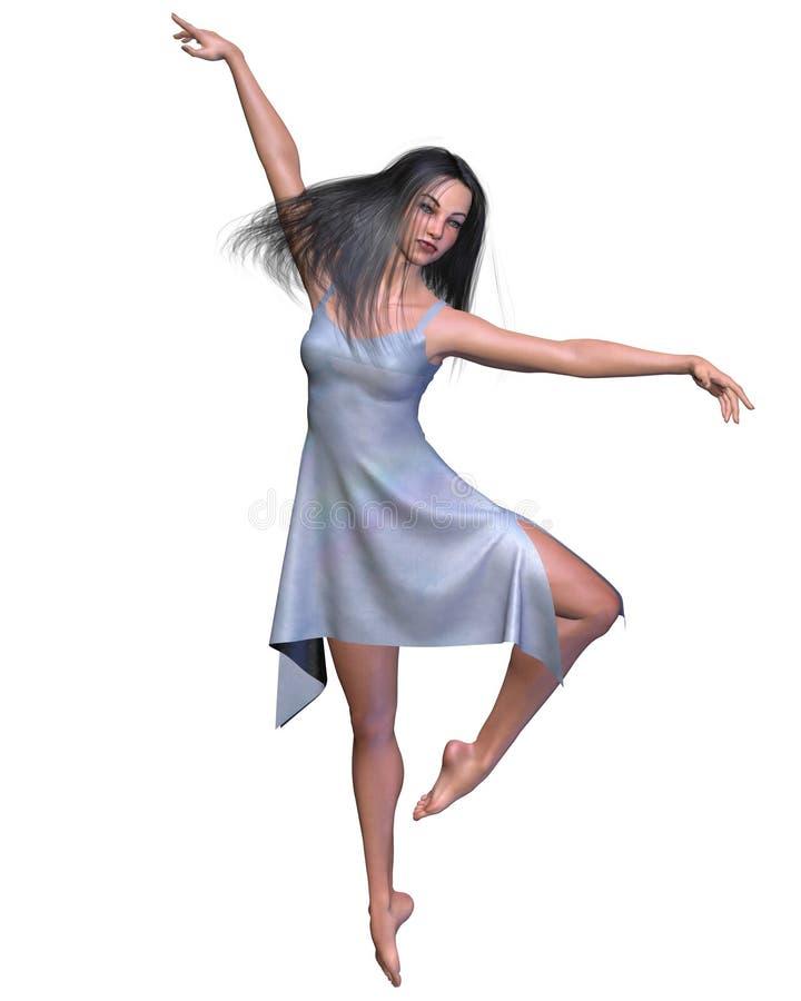 голубой шелк платья танцора иллюстрация вектора