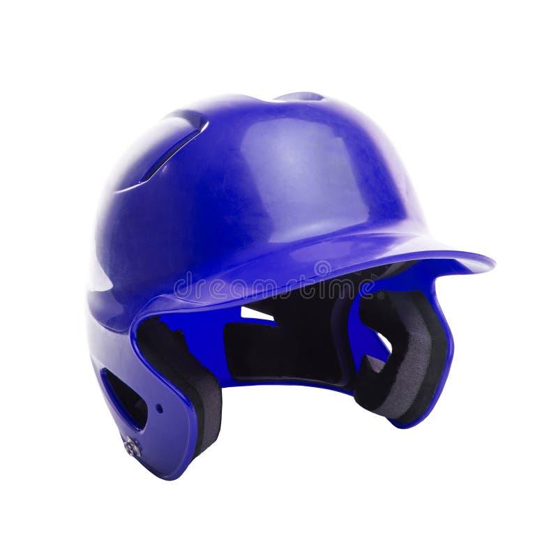 Голубой шлем бэттинга бейсбола или софтбола на белой предпосылке стоковая фотография