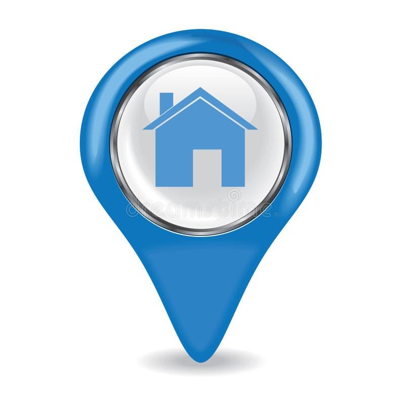 Голубой штырь дома иллюстрация штока