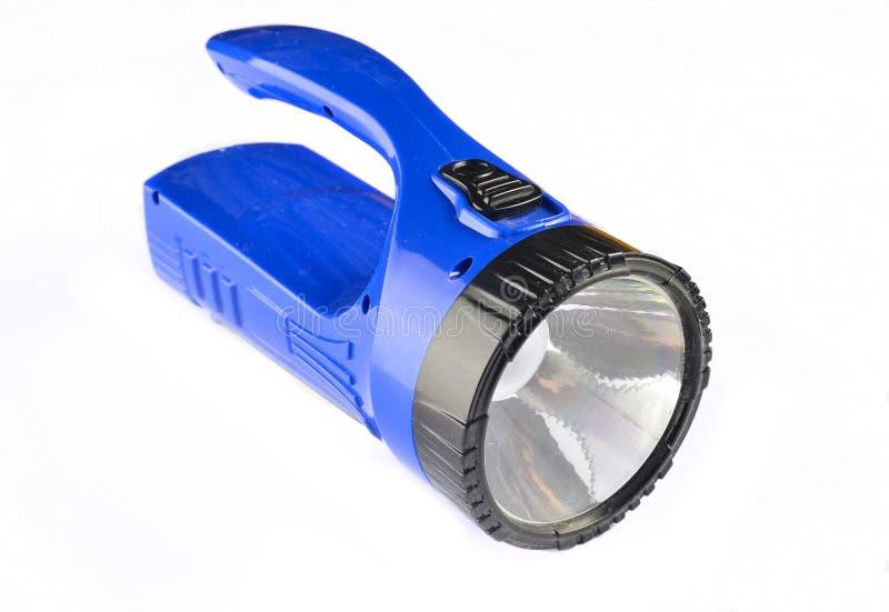 Голубой электрофонарь изолированный на белой предпосылке стоковая фотография