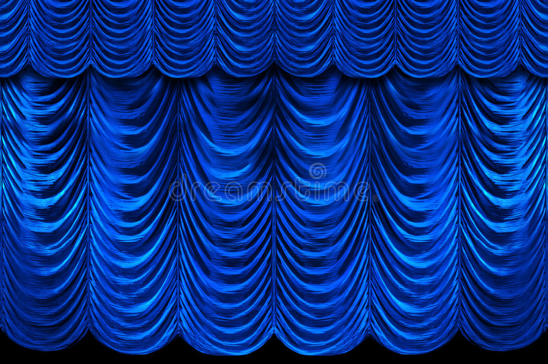 голубой этап занавесов стоковая фотография rf