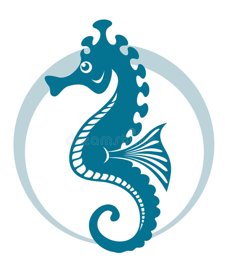 голубой seahorse иллюстрация штока