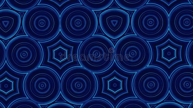 Голубые абстрактные предпосылка, круги движения и мигающий огонь, петля Голубые картины калейдоскопа Орнаментальное геометрическо иллюстрация вектора