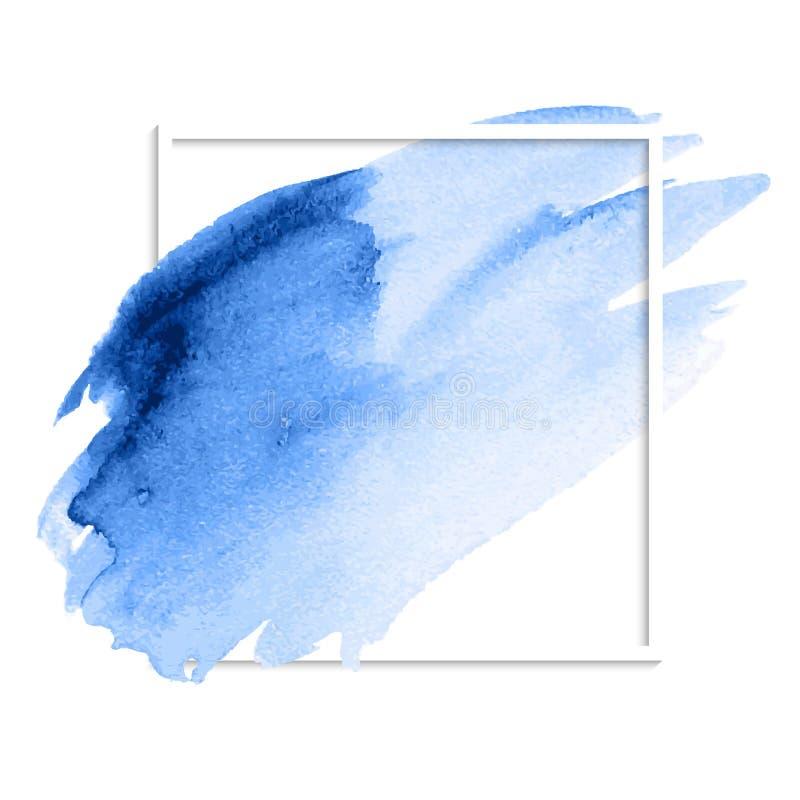 Голубые абстрактные ходы щетки пятна акварели иллюстрация вектора