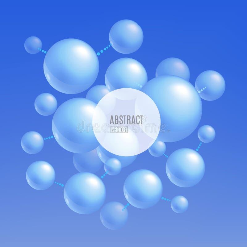 Голубые атомы молекулы - абстрактная предпосылка для дизайна знамени науки и техники иллюстрация штока