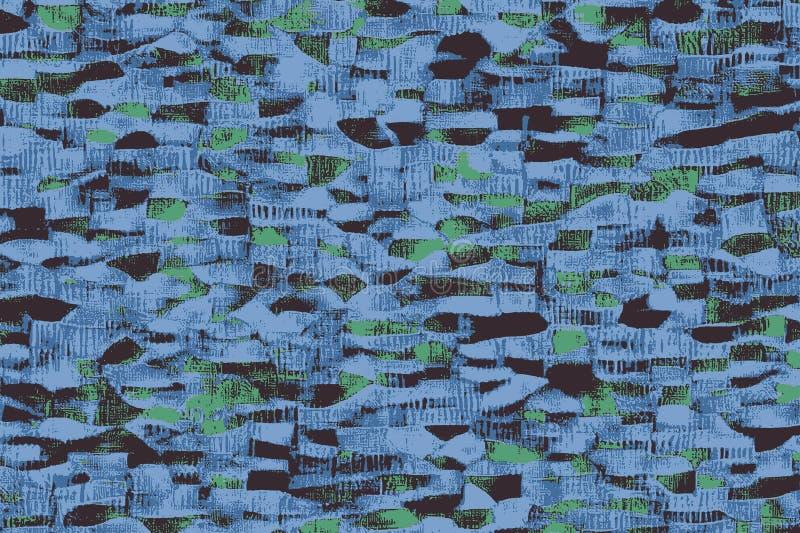 Голубые африканские ткани с картинами и покрашенными текстурами бесплатная иллюстрация