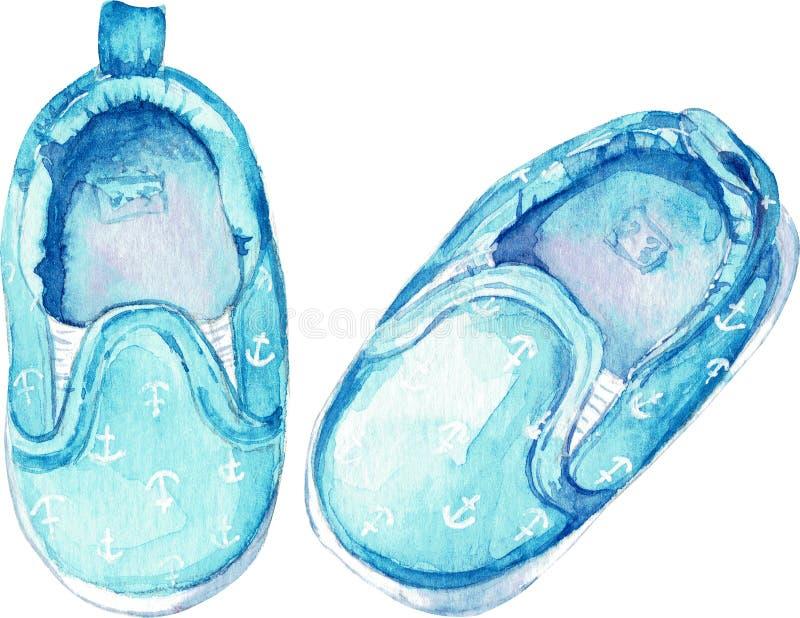 Голубые ботинки анкера для ребенка изолированного на белой предпосылке Иллюстрация акварели иллюстрация вектора