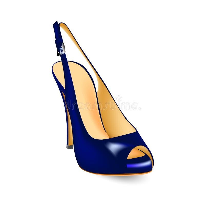 Голубые ботинки с отрезком toe, сандалии с высокими пятками иллюстрация штока