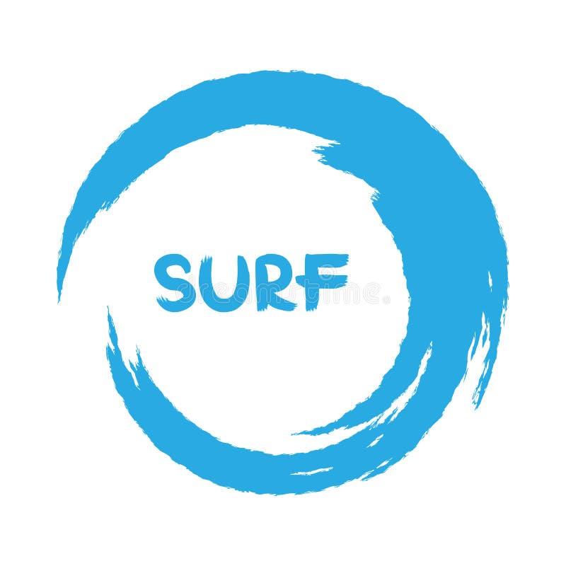 Голубые волны предпосылка с круговыми ходами Надпись прибой бесплатная иллюстрация