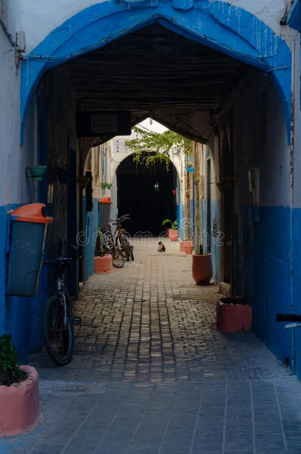Голубые ворота Marocco, январь 2019 стоковые фото