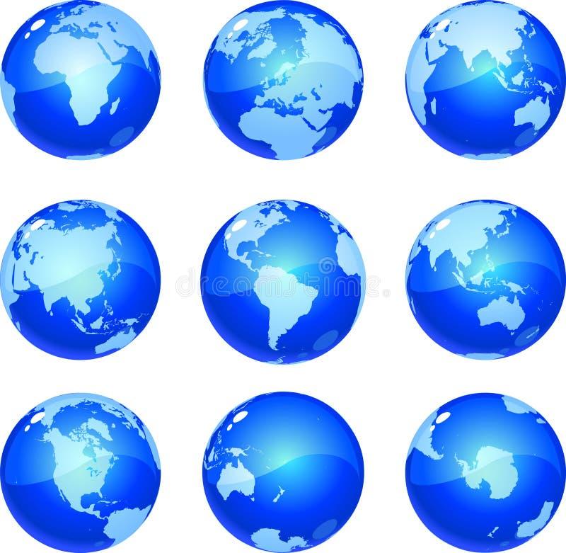 голубые глобусы иллюстрация вектора