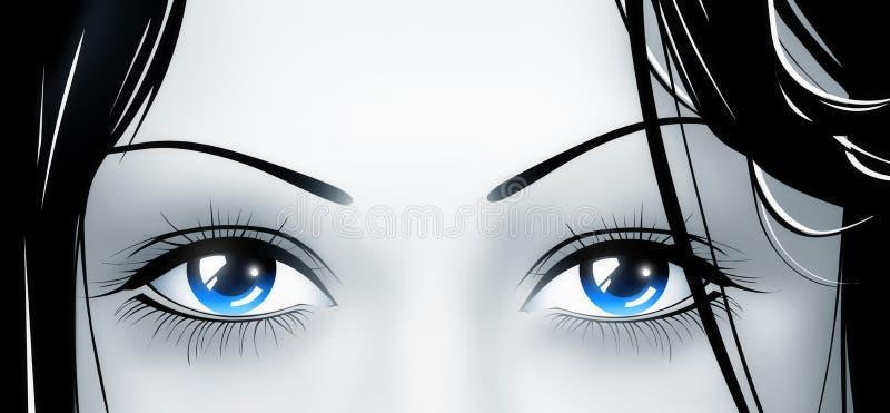 голубые глубокие глаза иллюстрация вектора