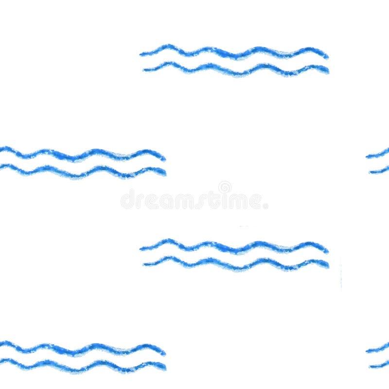 Голубые горизонтальные нашивки и волны сделали с brushstroke Картина акварели абстрактная безшовная иллюстрация вектора