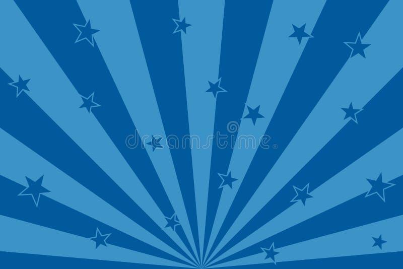 Голубые звезды с линиями предпосылкой радиальных лучей абстрактными иллюстрация вектора