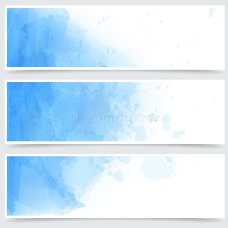 Голубые знамена конспекта акварели. иллюстрация штока