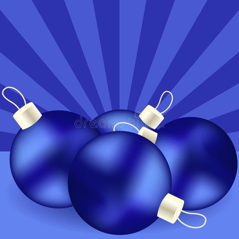 голубые игрушки рождества иллюстрация вектора