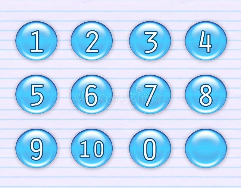 голубые иконы нумеруют глянцеватое иллюстрация вектора