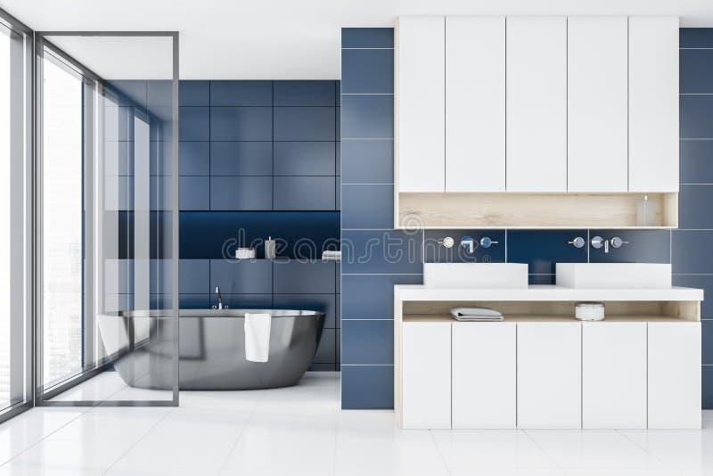 Голубые интерьер, ушат и раковины bathroom плитки иллюстрация вектора