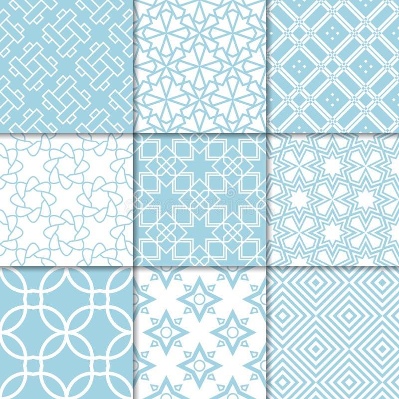 Голубые и белые геометрические орнаменты собрание делает по образцу безшовное иллюстрация штока