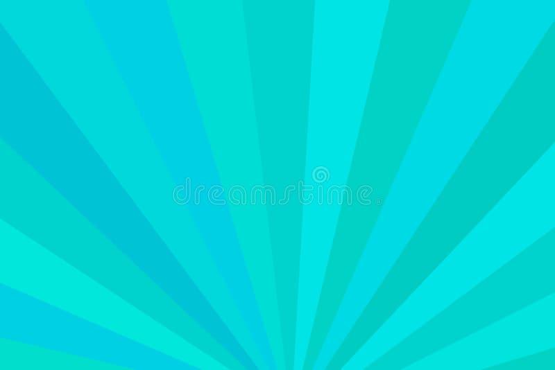 Голубые и зеленые лучи Radial излучает абстрактную предпосылку Красочный b иллюстрация вектора