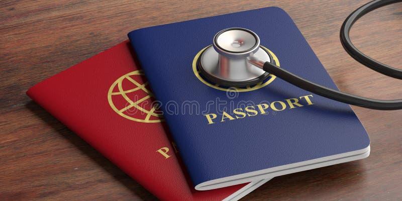 Голубые и красные пасспорты и медицинский стетоскоп на деревянной предпосылке иллюстрация 3d иллюстрация штока