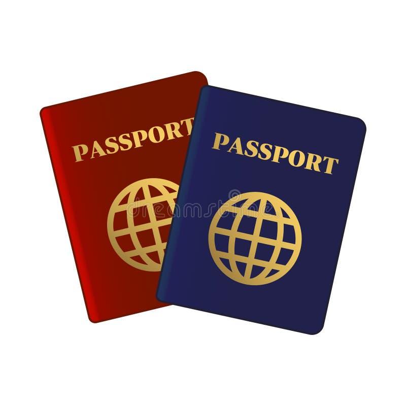 Голубые и красные пасспорты Международный документ идентификации для перемещения вектор иллюстрация вектора