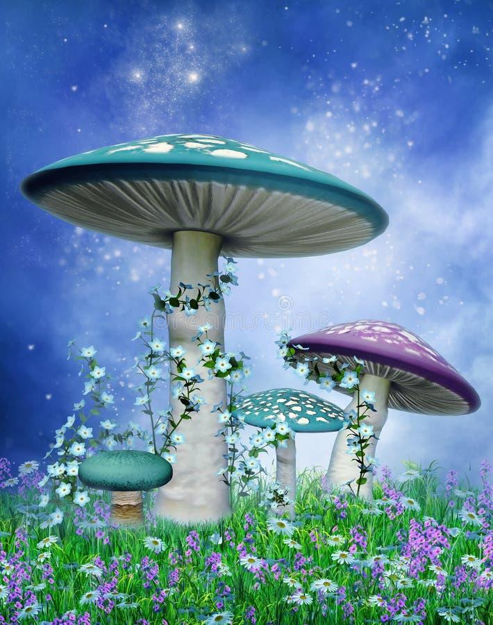 Голубые и пурпуровые грибы иллюстрация штока