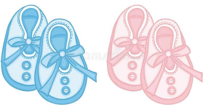 Голубые и розовые ботинки младенца иллюстрация штока