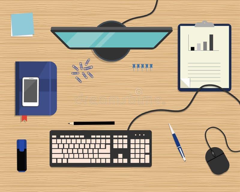 Голубые канцелярские принадлежности на деревянной предпосылке Взгляд сверху стола иллюстрация штока