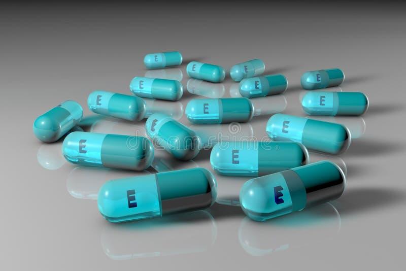 Голубые капсулы витамина e Аптека фармации Витамин и минеральный комплекс иллюстрация 3d иллюстрация вектора