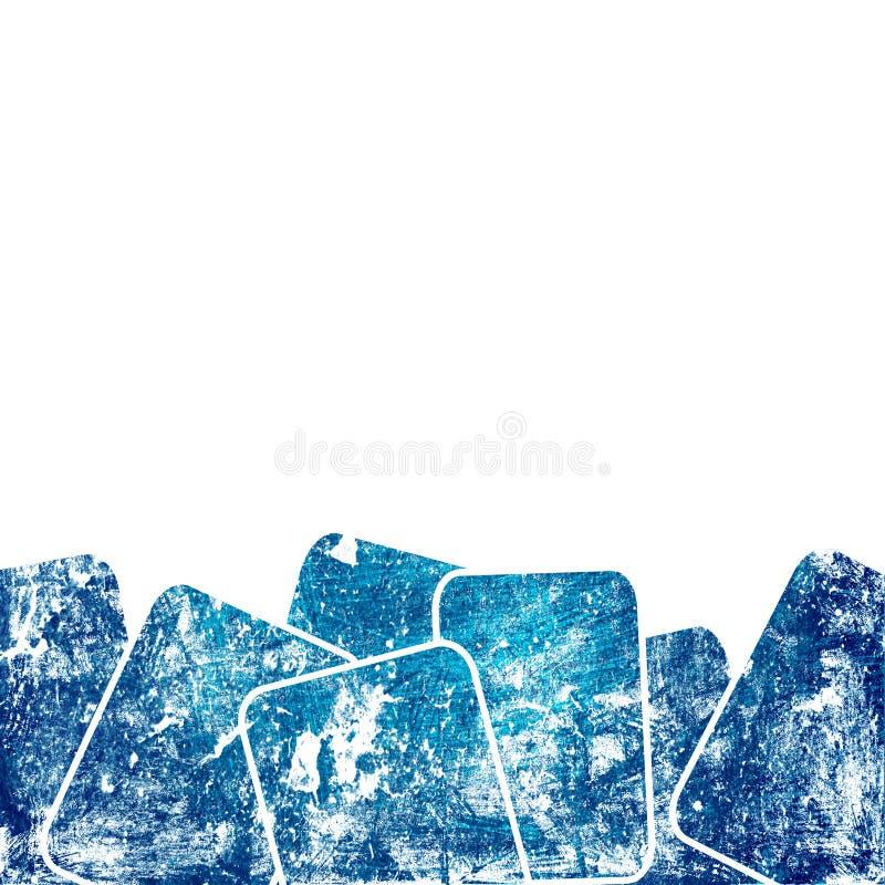 голубые квадраты grunge иллюстрация вектора